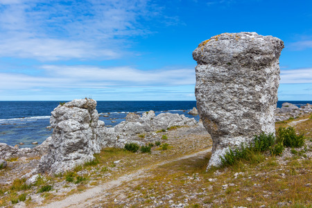 Rock formations on the coastline of  island, Gotland, Sweden  They are called raukar in Swedish   photo