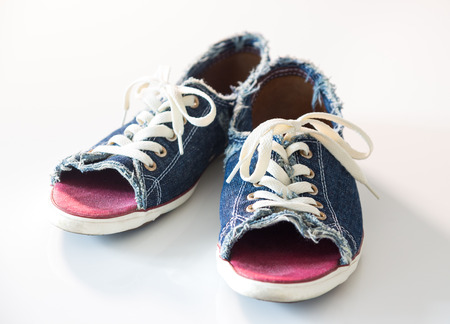 Blue denim shoes with laces photo