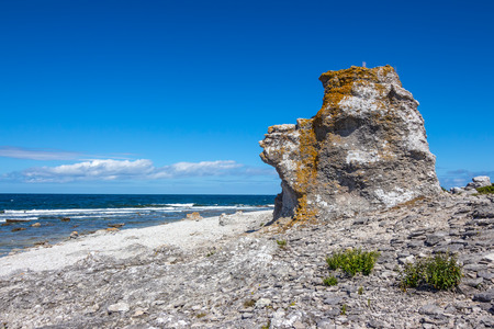 Cliff on the Baltic Sea coastline  F�r� island in Gotland, Sweden  This rock formation is called  rauk  in Swedish  photo