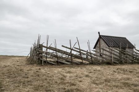 scandinavian landscape: Old farmhouse in the field  Island of Gotland, Sweden