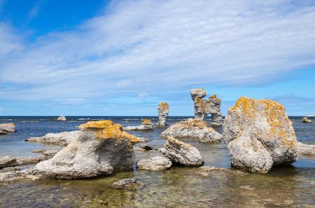 Limestone formations on Fårö island in Gotland, Sweden  These rocks are called  raukar  in Swedish  photo