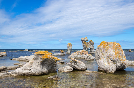 Limestone formations on Fårö island in Gotland, Sweden  These rocks are called  raukar  in Swedish  photo