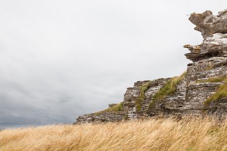 scandinavian landscape: Limestone cliffs on the coastline of Gotland, Sweden  This particular one is called Hoburgsgubben