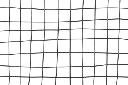Detail of a metal grid, isolated on white background.