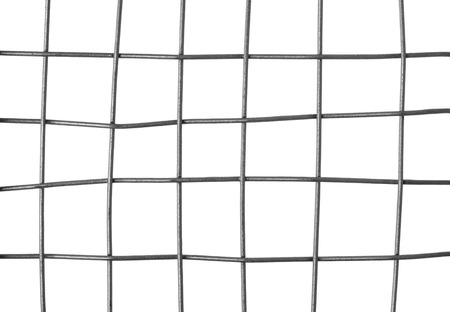 Close-up of a metal grid, isolated on white background