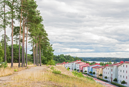 residential neighborhood: Vibrante barrio residencial rodeado de naturaleza viva moderna Foto de archivo