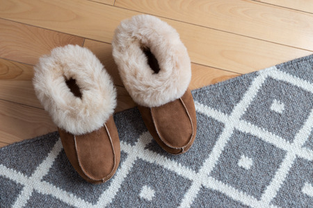 comfortable: Warm comfortable slippers on a gray rug.