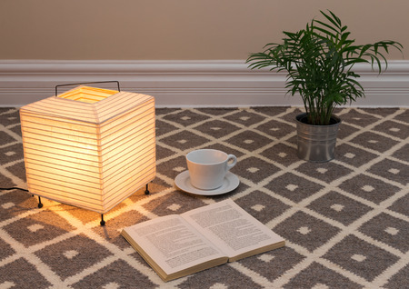 floor lamp: Lamp and a book to read on a carpet floor. Stock Photo