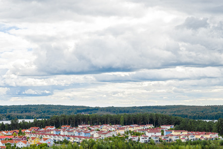 residential neighborhood: View over bright residential neighborhood surrounded by nature