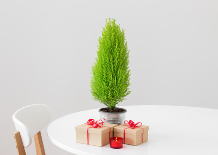 Little Christmas tree, gifts and candlelight on a white table  photo