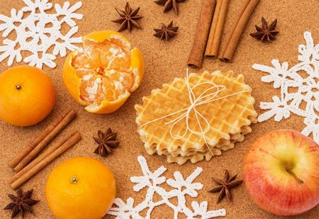 waffles: Aromáticas y sabrosas, Navidad especias, frutas y galletas