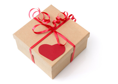Valentine gift box with red heart, isolated on white  photo