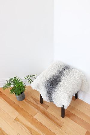 sheepskin: Decoraci�n casera de la planta verde y taburete cubierto de piel de oveja en la esquina de la habitaci�n