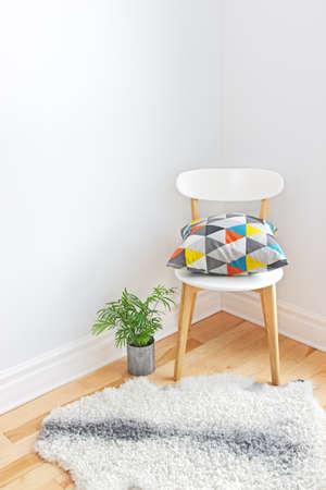 modern interieur: Home decor Stoel met heldere kussens, planten en schapenvacht tapijt op de vloer Stockfoto