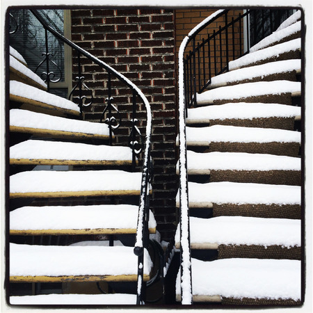 Staircases covered by snow  Winter in Montreal, Canada  photo