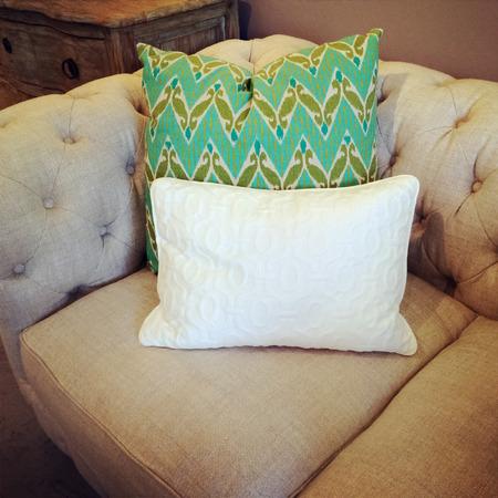 sofa: Retro style textile sofa with decorative cushions