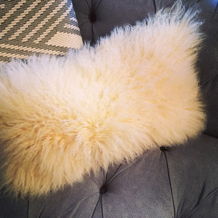 sheepskin: Blanco coj�n de piel de oveja suave y esponjosa en un sof�