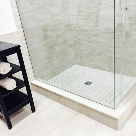 bathroom wall: New modern bathroom with shower and ceramic floor