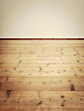room for text: Interior of an empty vintage room with wooden floor. Stock Photo