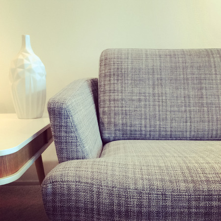 Gray sofa and vase on a retro style coffee table. photo