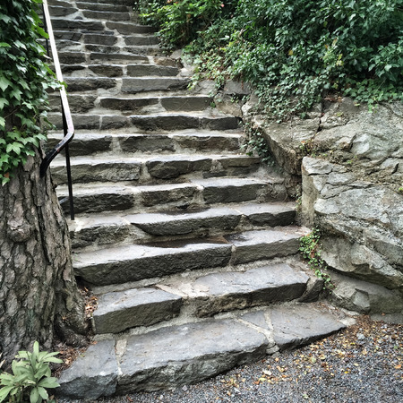 stone steps: Old stone steps in green summer garden. Stock Photo