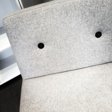 simple: Close-up of simple gray armchair. Modern furniture.