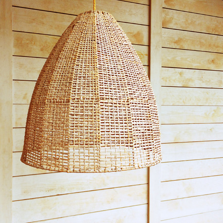 lampshade: Pendant light with wicker lampshade, rustic style.