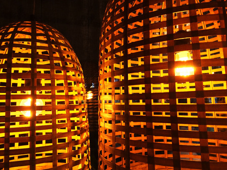 lampshades: Lamps with wicker lampshades, cozy lighting.