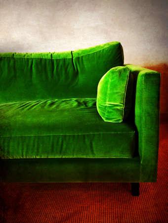 sofa: Green velvet retro sofa in a room.