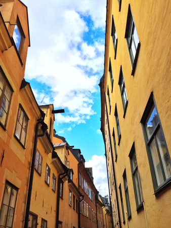 gamla stan: Bright buildings in Gamla Stan, the old center of Stockholm. Stock Photo