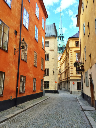 gamla stan: Colorful buildings in Gamla Stan, the old center of Stockholm. Stock Photo