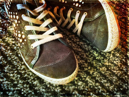 rivets: Fashionable shoes with metal rivets, teenager fashion.