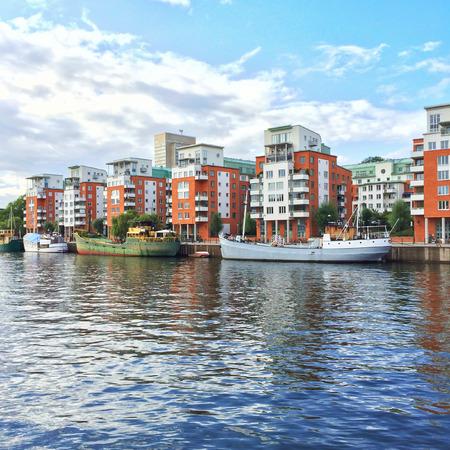 residential neighborhood: Modern residential neighborhood with colorful buildings. Stockholm, Sweden.