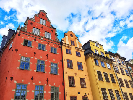 old center: Colorful buildings in Gamla Stan, the old center of Stockholm. Stock Photo