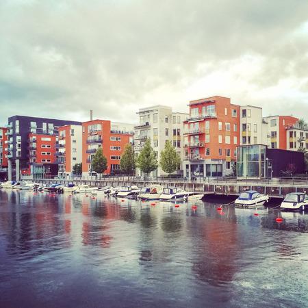 residential neighborhood: Modern residential neighborhood on a rainy day. Stockholm, Sweden.