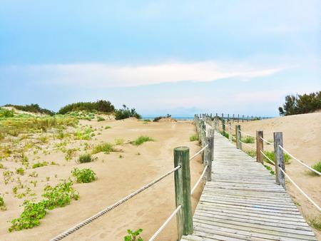 costa blanca: Spanish beach with white sand dunes. Costa Blanca. Stock Photo