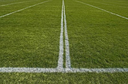 green lines: Perspective of a green playing field with painted white lines.