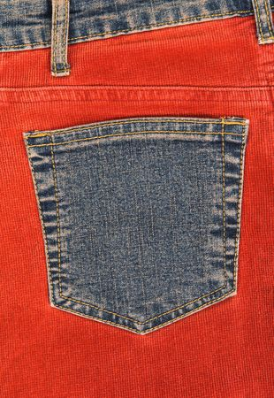 corduroy: Vibrant corduroy clothing with blue denim pocket.
