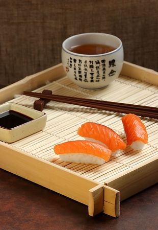 little table: Modestly served little table, in traditional Japanese style... Stock Photo