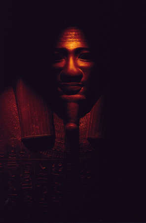 Ancient Egyptian Tomb, darksome sarcophagus Stock Photo
