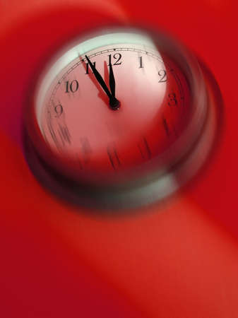Its time! Blurred clock about to strike midnight Stock Photo