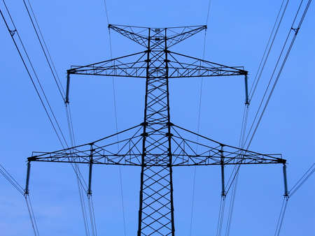 Power line, high voltage tower Stock Photo
