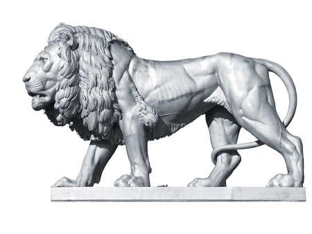 Argent m�tal lion statue, Zbiroh Castle, en R�publique tch�que