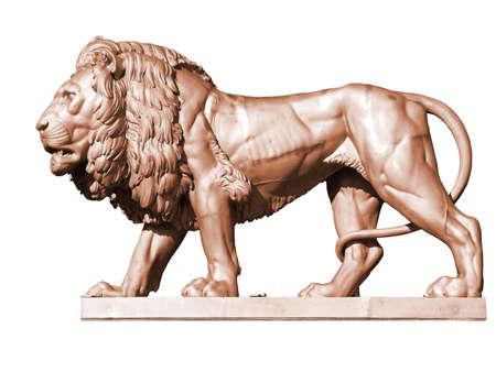 metal sculpture: Bronze metal lion statue, Zbiroh Castle, Czech republic Stock Photo