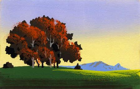 Simple landscape 1 - retro stencil painting