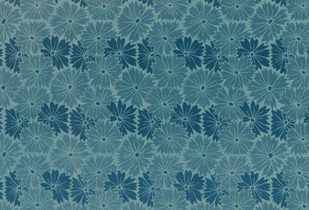 Used floral vintage wallpaper in blue - natural grainy surface