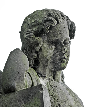 Angel without face - statue at old cemetery, Krasna Lipa, Czech republic, Europe Stock Photo