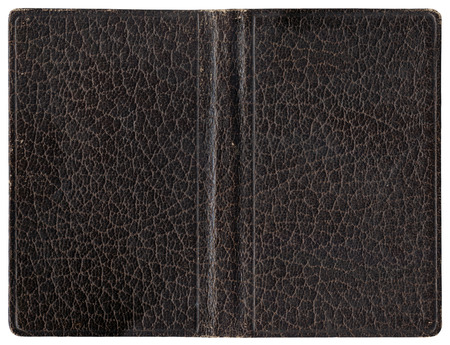 open diary: Old open book or diary - leather cover - isolated on white - perfect in detail! Stock Photo