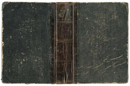 Vieux livre ouvert - couvrir avec dos en cuir - circa 1875 - isol� sur blanc