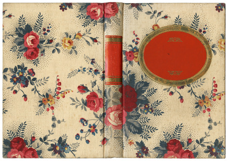 abstracto: Old open book cover in canvas with floral ornaments - isolated on white - perfect in detail